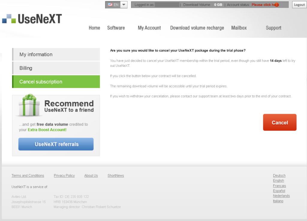 usenext cancel 3